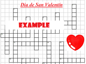 Crossword Valentine's Day with clues Día de San Valentín