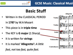 GCSE Music, introducing Classical Music and Mozart's Eine Kleine Nachtmusik