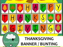 Happy Thanksgiving Banner Great Thanksgiving Bunting With Fall Leaves Colors
