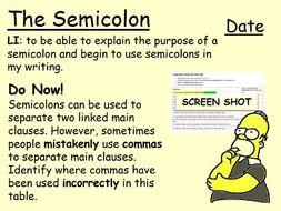 KS3 Basic Literacy: The Semicolon
