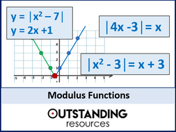 Functions 6 - Modulus Functions and Solving Modulus Equations (+ worksheet)
