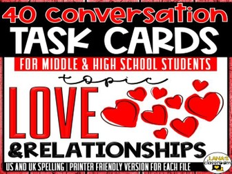 Conversation Starter Cards | Love and Romance | Social Skills for Middle&High