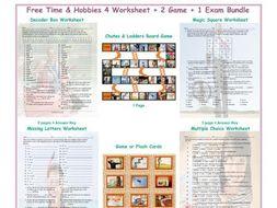 Free Time & Hobbies 4 Worksheet-2 Game-1 Exam Bundle