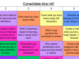 Consolidate/Plenary - Roll the Dice activity