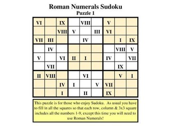 246fa632b ROMAN NUMERALS SUDOKU by PUBLICSECONDARY - Teaching Resources - Tes