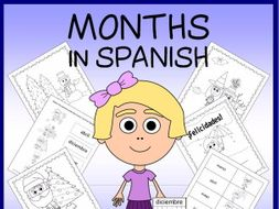 Spanish Months Vocabulary Sheets, Worksheets and Matching Game
