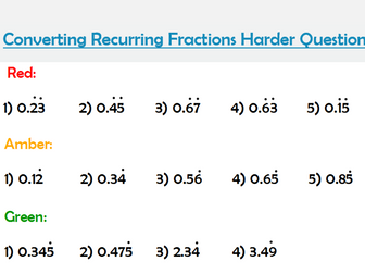 Fractions to decimals and recurring decimals to fractions