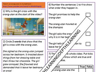 KS1 & KS2 Video Comprehension Rainforest