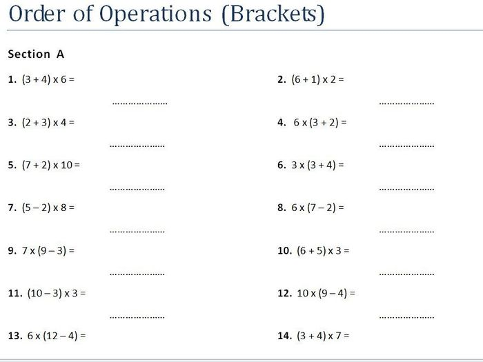 Worksheet. Order Of Operations 1