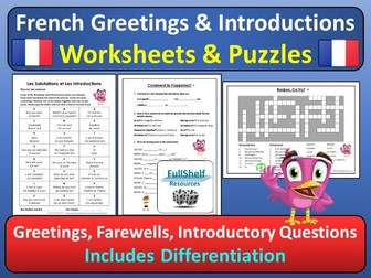 French Greetings / Introductions Worksheets & Puzzles