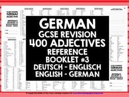 GERMAN ADJECTIVES REFERENCE GERMAN-ENGLISH & ENGLISH-GERMAN