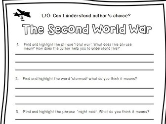 Reading Comprehension WW2 Overview Non-Fiction With Skill Specific Question Sheets.