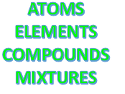 Atoms, Elements, Compounds and Mixtures