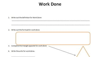GCSE Physics Worksheet: Work Done, definition, formula, Q&A by ...