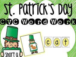 St. Patrick's Day CVC Word Work: Short A FREEBIE