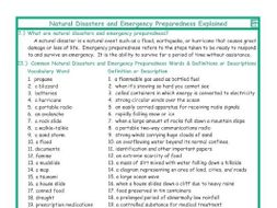 Natural Disasters and Emergency Preparedness Explanation-Definitions