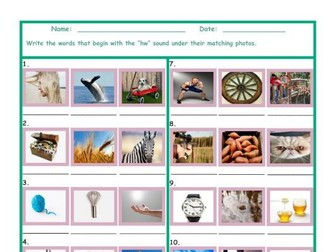 Phonics HW Sound Photo Worksheet