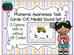 Phonemic Awareness Task Cards: CVC Medial Sound Set 2