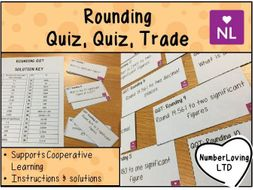 Rounding to Significant Figures, Estimation, Bounds Quiz Quiz Trade Cards