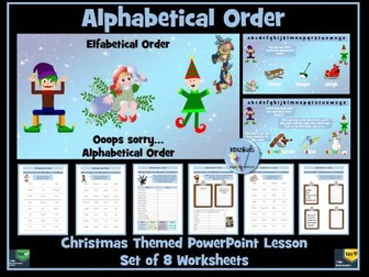 Alphabetical Order - Christmas Themed PowerPoint Lesson and Worksheets