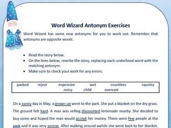 Word Wizard Advanced Antonym Sheet