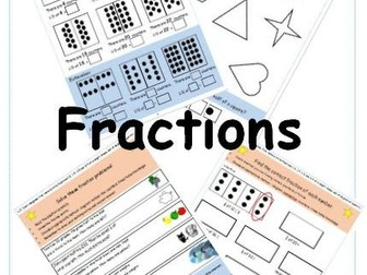 Y2 Fractions Unit - fractions of shapes/numbers - worksheets & plans - differentiated