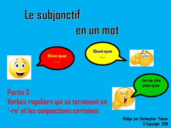 French: The subjunctive in a nutshell - Part 3: regular '-re' verbs with certain conjunctions