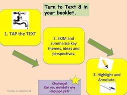 9-1, 24 LESSON SOW EDEXCEL GCSE ENG.LANG  Paper 2 Reading, Resource booklet & Teacher Question Guide