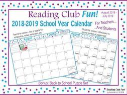 2018-2019 School Year Calendar FREE Bundle (Back to School)