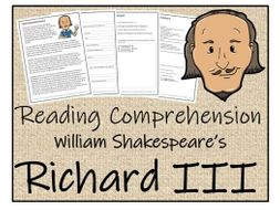 UKS2 Literacy - Richard III Reading Comprehension Activity