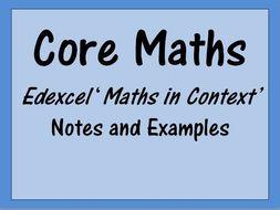Core Maths Edexcel 'Maths in Context'