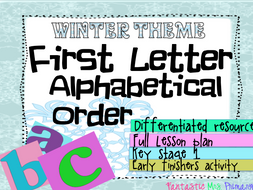Winter Theme- First letterAlphabetical Order