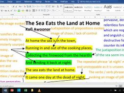 The Sea Eats the Land at Home - Fully Annotated Poem CIE