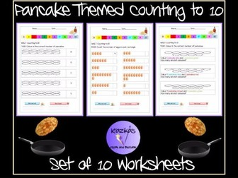 Pancake Day Themed Counting to 10 Worksheets