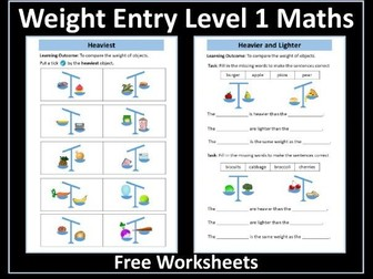 Weight Worksheets AQA Entry Level 1 Maths