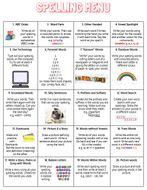 KS2 Homework Spelling Menu with 35 Different  Activities