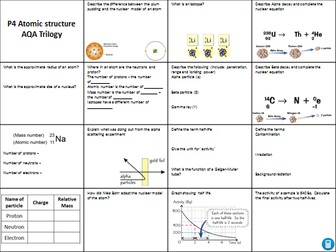 AQA Trilogy Physics paper 1 revision bundle