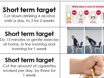 BTEC Tech Award Health and Social Care Component 3 - Short and Long Term targets starter