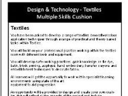 Basic Textiles Skills Cushion Scheme of Work, Student Booklet & Lesson Powerpoint Resources