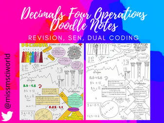 Decimals - Four Operations - Maths Doodle Notes