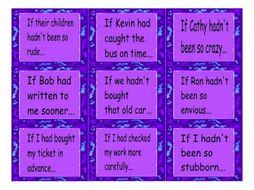 Conditional Sentences Type 3 Cards  4 Pages = 36 Cards