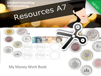 KS1 Maths  Money Student work book activity - Recognising denominations, adding, subtracting