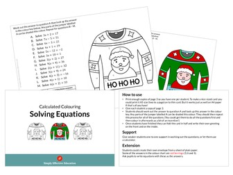 Christmas Calculated Colouring (Solving Equations)