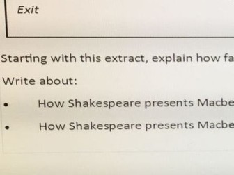 Macbeth AQA (new spec.2017) question with model answer and commentary
