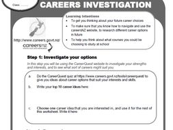 NZ Careers research worksheet - middle/secondary
