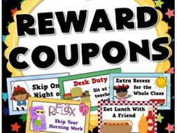 Classroom Reward Coupons for Behaviour Management