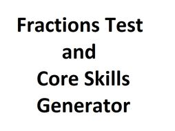 Fractions Test and Worksheet Generator
