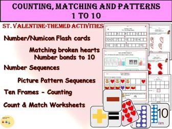 St. Valentine- Count, Match, Patterns/Sequences, Number Bonds to 10, Ten Frames Activities EYFS/KS1