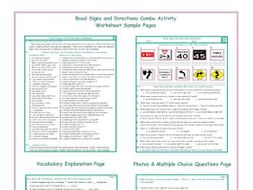 Road Signs-Directions Combo Activity Worksheets