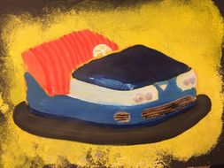 Bumper car paintings for 'All the Fun' theme